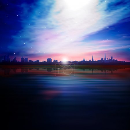 abstract nature background with silhouette of city and sunset