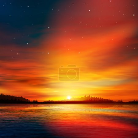 Illustration for Abstract nature background with forest lake and red sunset - Royalty Free Image