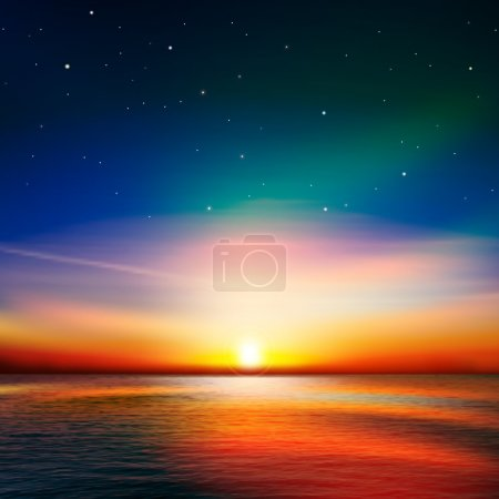 Illustration for Abstract nature background with pink ocean sunset - Royalty Free Image