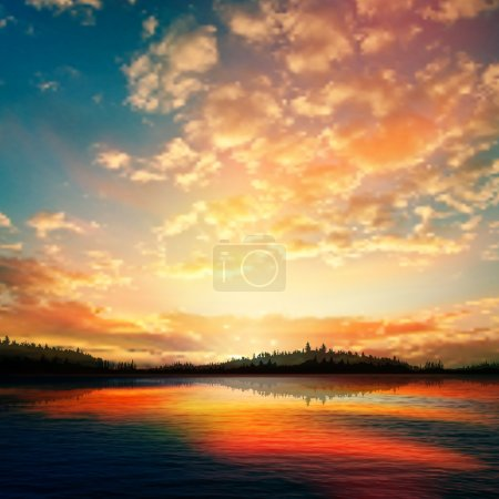 Illustration for Abstract sunset background with forest lake and clouds - Royalty Free Image