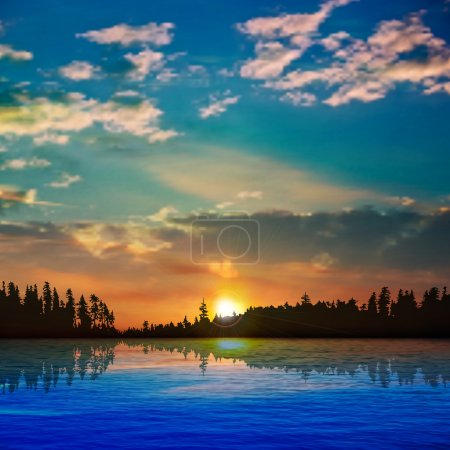 Illustration for Abstract nature background with forest lake clouds and sunrise - Royalty Free Image