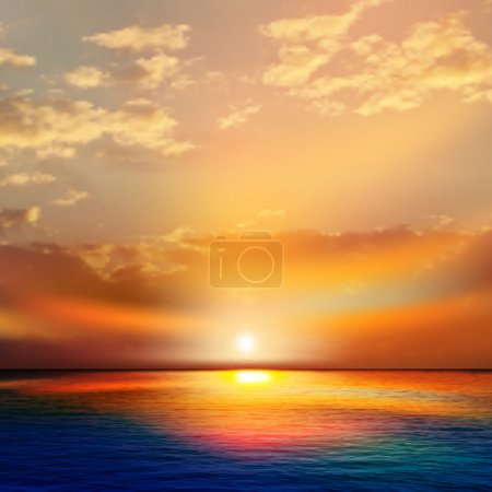 Illustration for Abstract nature background with sea red sunset and clouds - Royalty Free Image