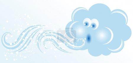Illustration pour Nuage soufflant de couleur bleue - image libre de droit