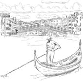 Vector - Rialto bridge with gondola Venice Italy