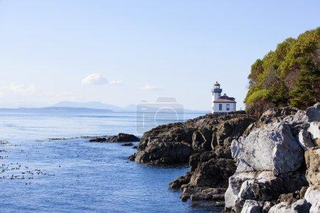 Blue waters of coast of San Juan island, Washington state