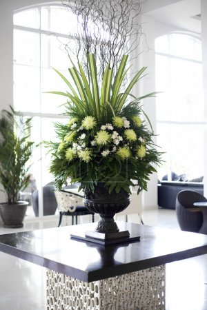 Beautiful flower arrangement in large foyer
