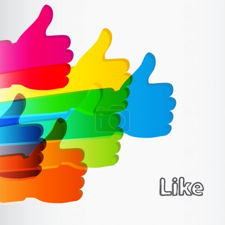 Illustration for Like and Thumbs Up symbol. Abstract background. Vector illustration. - Royalty Free Image