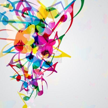 Illustration pour Fond musical coloré avec des éléments de design musical lumineux . - image libre de droit