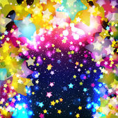 Bright colorful flying stars on a fantastic design background Vector Illustration