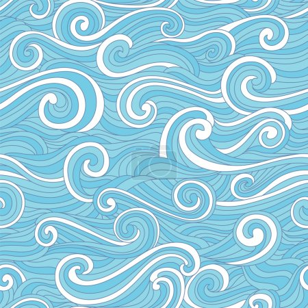 Illustration for Seamless abstract hand drawn pattern with stylized wave. Colorful - Royalty Free Image