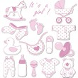 Baby shower design elements. Set of baby icons...
