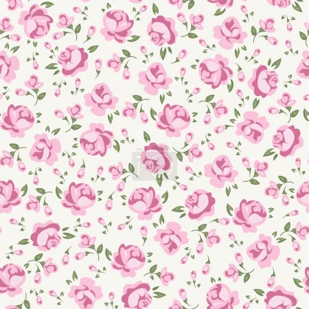 Illustration for Shabby chic rose pattern. Scrap booking floral seamless background. - Royalty Free Image