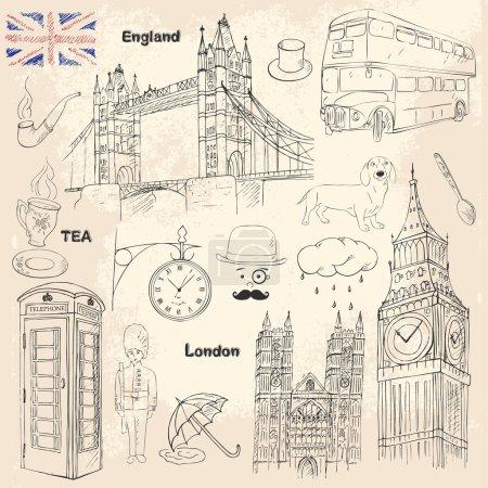 Illustration pour Londres collection de voyage avec différents éléments britanniques. Croquis icônes de l'Angleterre - image libre de droit