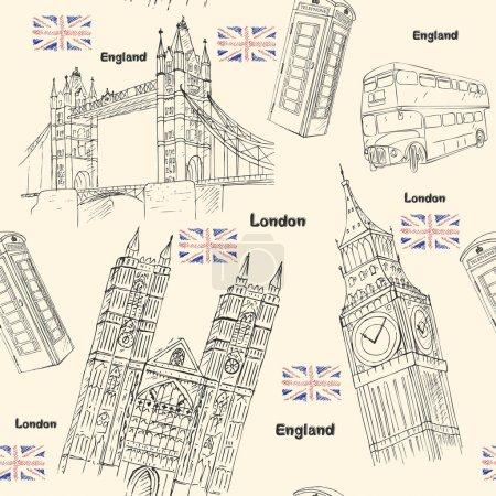 Photo pour Londres Voyage motif sans couture avec des éléments d'architecture sites - image libre de droit