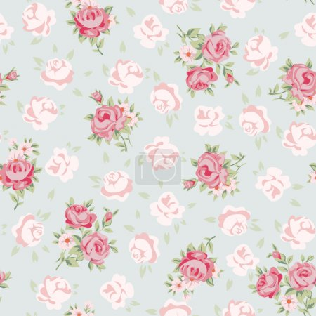 Illustration for Floral seamless vintage pattern. Shabby chic rose background for you scrapbooking. - Royalty Free Image