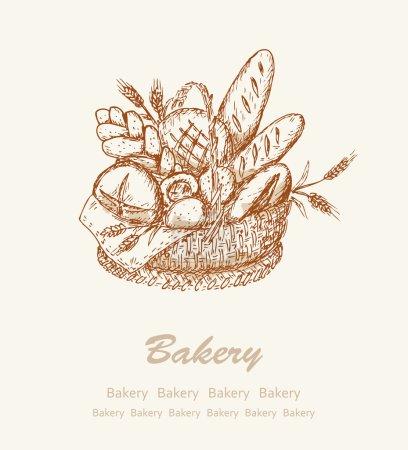 Illustration pour Fond de boulangerie. Carte avec pain différent dans un panier - image libre de droit