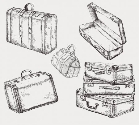 Illustration for Vintage suitcases set. Old travel bags collection - Royalty Free Image