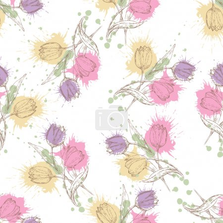 Illustration for Seamless pattern with tulips. Summer floral background in grunge style - Royalty Free Image