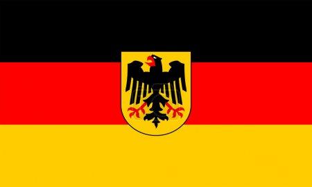 Photo pour Drapeau gouvernemental de l'Allemagne. le drapeau gouvernemental est utilisable uniquement par les autorités du gouvernement fédéral. bon ratio (3:5) et couleurs (RVB 0,0,0-255,0,0-255,204,0). adopté le 7 juin 1950. - image libre de droit
