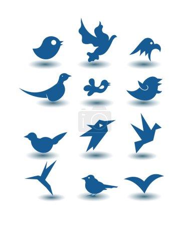 Photo pour Icônes oiseaux - image libre de droit