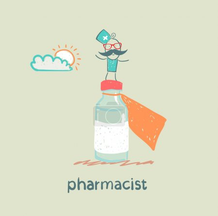 pharmacist is on a big pot of medicines