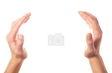 Photo pour Mains humaines applaudissements deux sur fond blanc - image libre de droit