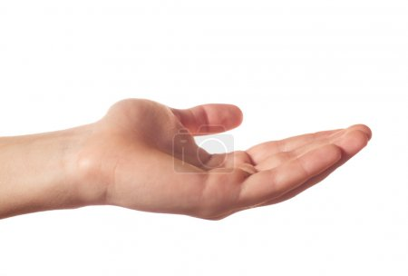 Friendly human hand on white background