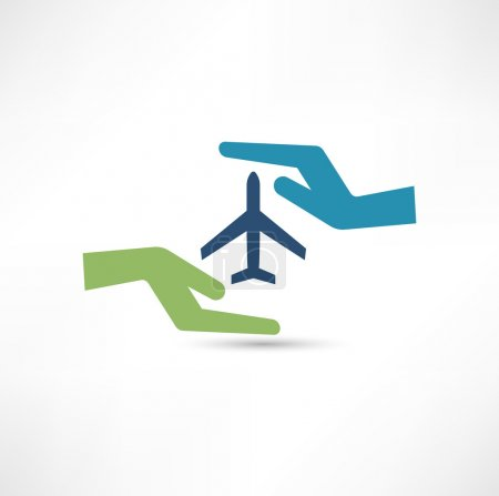 Hands and aircraft. The concept of safe flight.