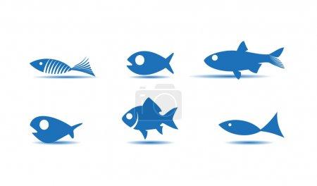 Illustration pour Icônes de poisson - image libre de droit