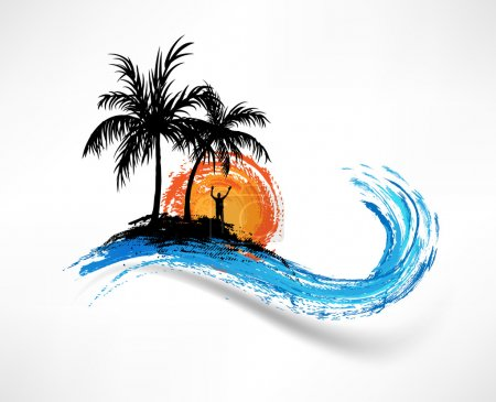 Illustration for Palm trees and ocean wave. Man against the sunset - Royalty Free Image