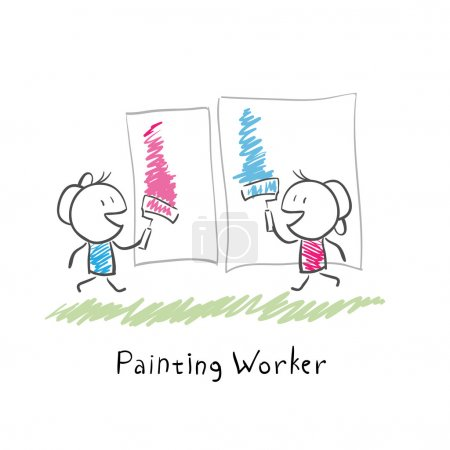 Two paint rollers. Illustration.