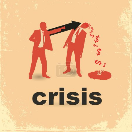 Illustration for The concept of the financial crisis. Duel of two businessmen. - Royalty Free Image