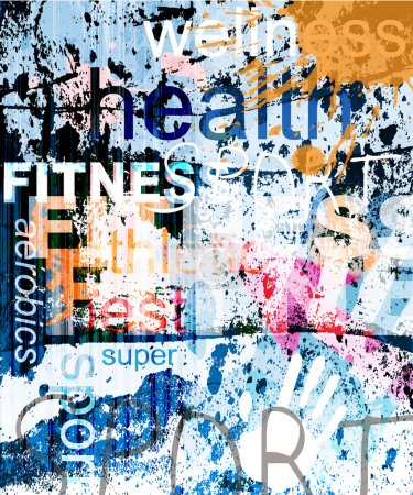 Illustration for FITNESS. Word Grunge collage on background. - Royalty Free Image