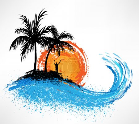 Illustration for Palm trees and ocean wave. Sunset - Royalty Free Image