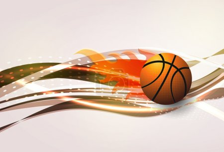 Illustration for Vector basketball with wave background - Royalty Free Image