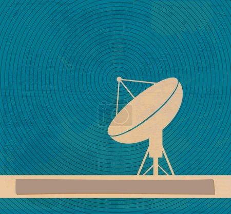 Radar translation. Satellite dishes antena. Retro poster