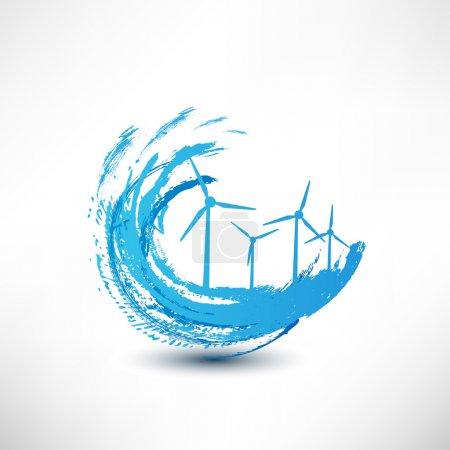 Illustration pour Concept d'éoliennes vectorielles - image libre de droit