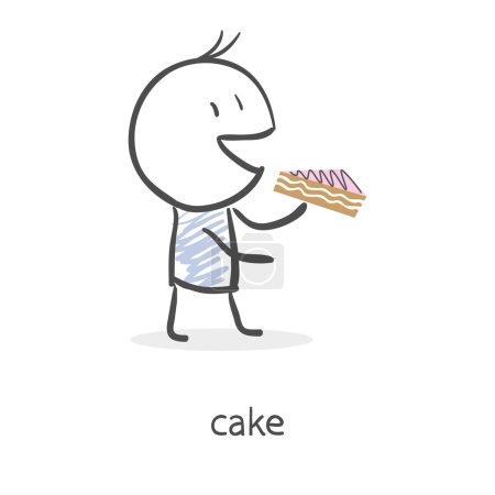 Cartoon boy eating cake