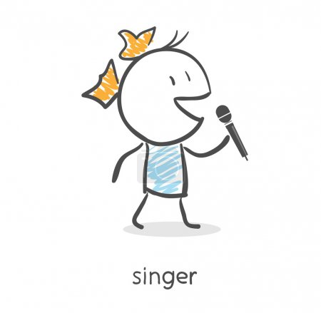 Cartoon girl singing into a microphone