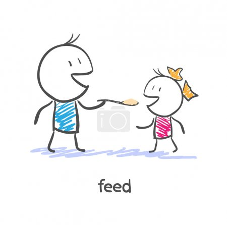Illustration for Feed. Dad and daughter - Royalty Free Image