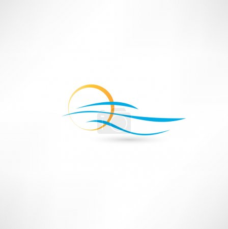 Illustration for Sea waves and rising sun vector illustration - Royalty Free Image