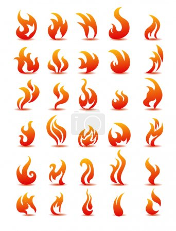 Illustration for Fire flames on white background vector, set icons - Royalty Free Image