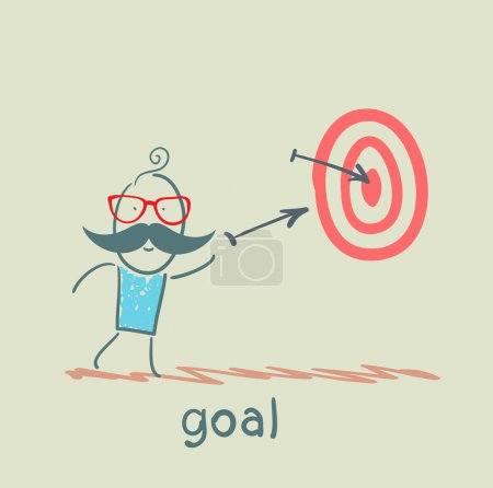 Goal with arrow shot into the target