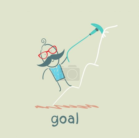 Illustration for Man climbs to the target at the top of the mountain to the goal - Royalty Free Image