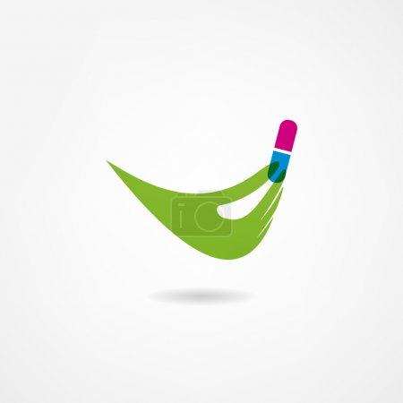 Illustration pour Icône de médecine, capsule à la main - image libre de droit