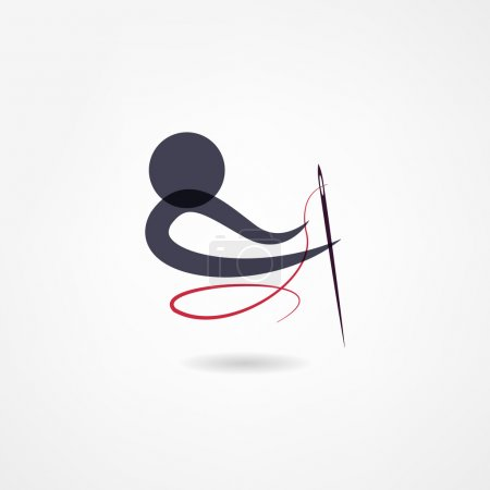 Illustration for Seamstress icon, needle and red thread - Royalty Free Image