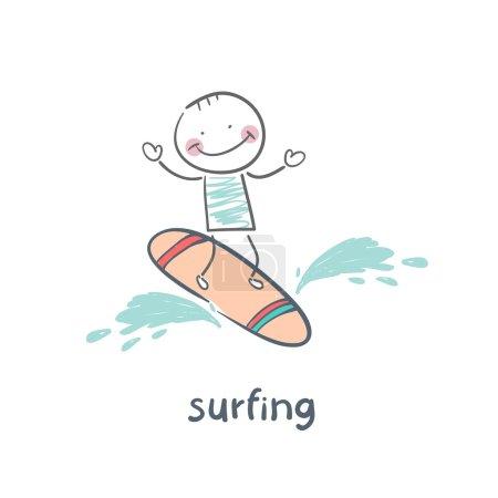 Illustration pour Surfeur sur Blue Ocean Wave - image libre de droit