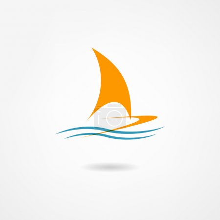 Illustration for Yacht icon - Royalty Free Image