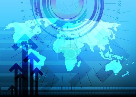 Illustration pour Business fond numérique bleu avec carte du monde et indicateur de progrès - image libre de droit