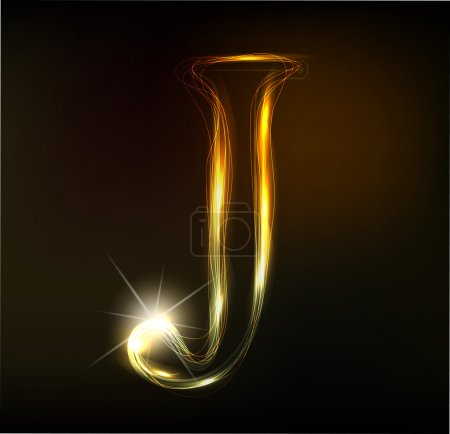 Glowing neon font. Shiny letter J